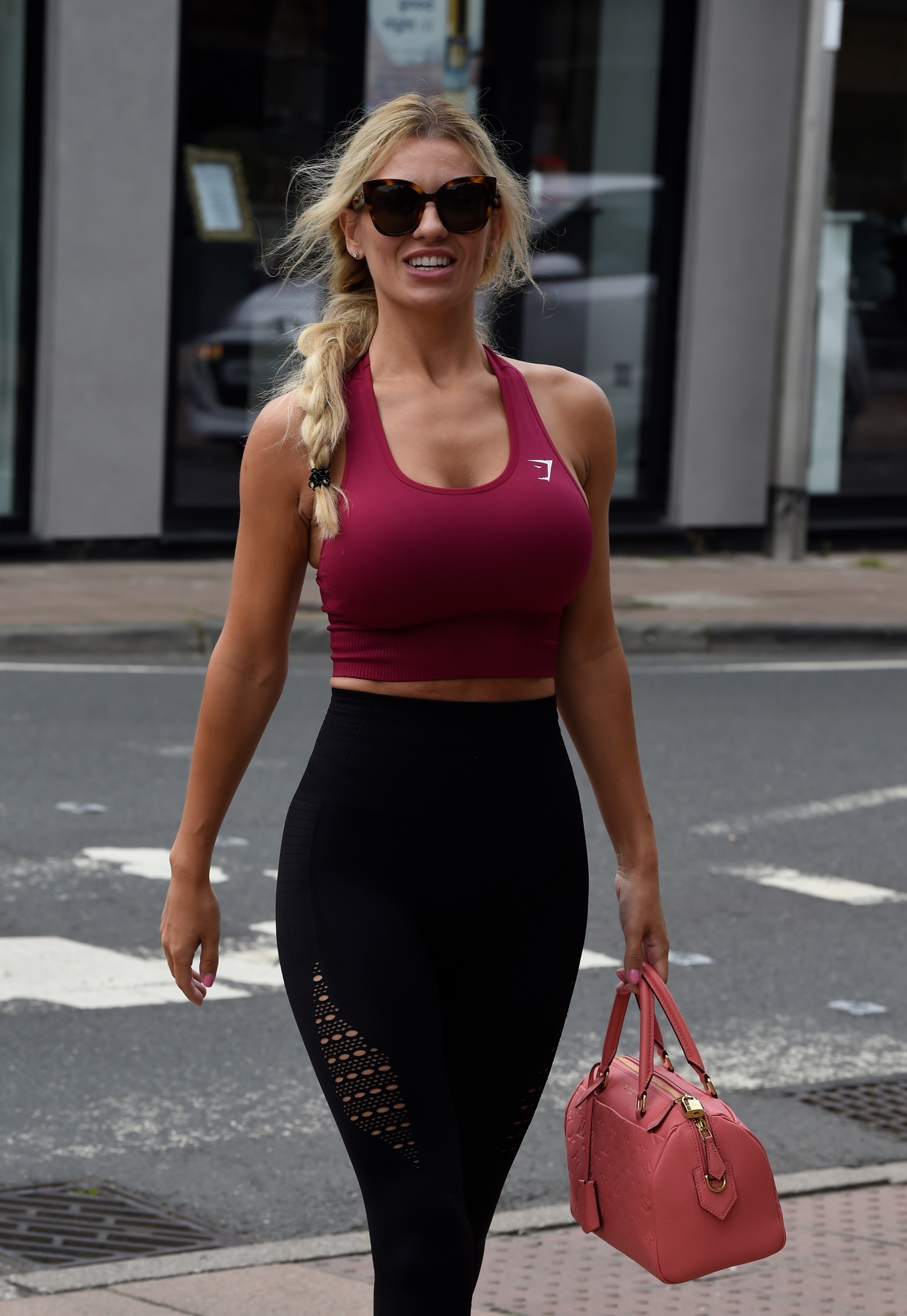 Christine McGuinness showing off her cleavage and looking