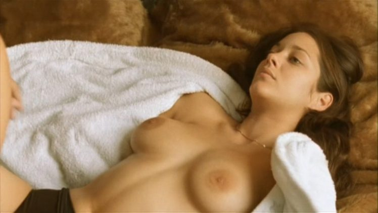 Shameless French hottie Marion Cotillard shows her tits and bush