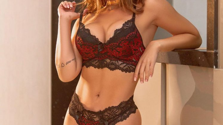 Thick Barbara 'Babi' Rossi Displaying Her Body in Various Pieces of Fancy Lingerie